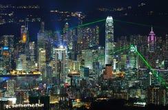 Demostración del laser de Hong-Kong Fotografía de archivo