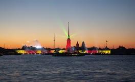 Demostración del laser de la noche blanca Fotografía de archivo libre de regalías