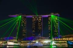 Demostración del laser en Marina Bay Singapore Fotos de archivo libres de regalías