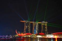 Demostración del laser, Marina Bay fotos de archivo libres de regalías