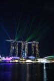 Demostración del laser, Marina Bay imagenes de archivo