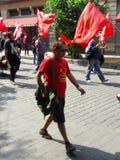 Demostración del Partido Comunista de México en Ciudad de México Fotos de archivo libres de regalías
