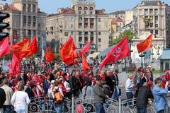 Demostración del primero de mayo en Kiev Fotografía de archivo libre de regalías