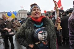 Demostración del primero de mayo en St Petersburg Imagen de archivo libre de regalías