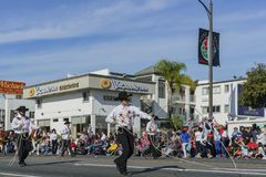 Demostración del vaquero en Rose Parade famosa Imágenes de archivo libres de regalías