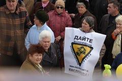 Demostración ecológica en Mariupol, Ucrania Imagen de archivo