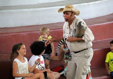 Demostración educativa en lémures exóticos, isla de la selva, Miami, 2014 Foto de archivo