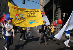 Demostración el el día de mayo en Berlín Imagen de archivo libre de regalías