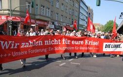 Demostración en Berlín, 1 de mayo de 2009 del día de mayo Foto de archivo libre de regalías