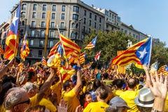 Demostración en Cataluña Foto de archivo libre de regalías
