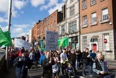 Demostración en Dublín (Irlanda) adentro en 21 03 2015 Fotos de archivo libres de regalías