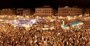 Demostración en Puerta del Sol, Madrid, mayo de 2011 Foto de archivo libre de regalías