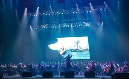 Demostración The Game de la orquesta sinfónica de tronos en Kiev imagen de archivo