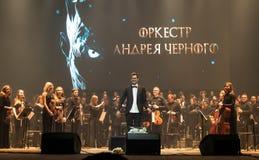 Demostración The Game de la orquesta sinfónica de tronos en Kiev fotografía de archivo