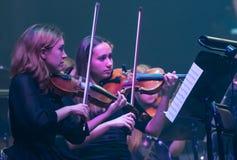 Demostración The Game de la orquesta sinfónica de tronos en Kiev imagen de archivo libre de regalías