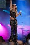 Demostración gitana del corazón de Miley Cyrus en el Brasil Fotos de archivo