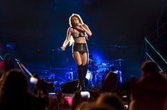Demostración gitana del corazón de Miley Cyrus en el Brasil Foto de archivo libre de regalías