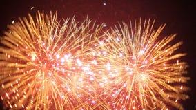 Demostración hermosa de los fuegos artificiales en el cielo nocturno metrajes