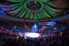 Demostración hermosa del laser en la arena del gran circo del estado de Moscú Fotografía de archivo libre de regalías