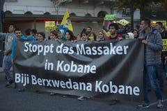 Demostración kurda en la solidaridad Kobane en Viena Imagen de archivo libre de regalías