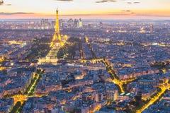 Demostración ligera del funcionamiento de la torre Eiffel en París, Francia Imágenes de archivo libres de regalías