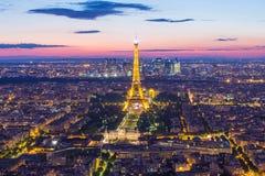Demostración ligera del funcionamiento de la torre Eiffel en París, Francia Fotos de archivo libres de regalías