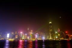 Demostración ligera del funcionamiento de rascacielos en Hong Kong Imagen de archivo libre de regalías