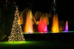 Demostración ligera en el ajuste del jardín con la fuente de agua Fotografía de archivo libre de regalías
