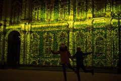 demostración Luz-musical en las paredes de la ermita del estado Fotos de archivo