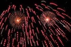 Demostración roja de los fuegos artificiales Fotos de archivo libres de regalías