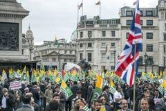 Demostración Trafalgar Square Londres de Cachemira Imagen de archivo