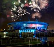Demostración y fuegos artificiales del laser en el estadio Imagenes de archivo