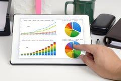 Demostración del informe de negocios en la tableta Imágenes de archivo libres de regalías