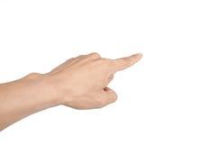Demostraciones aisladas de la mano del niño que gesticulan la recepción Fotografía de archivo