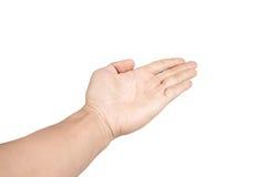 Demostraciones aisladas de la mano del niño que gesticulan la recepción Imagenes de archivo