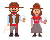 Demostraciones de los ejemplos del estilo del vintage del arte del pixel masculinas stock de ilustración