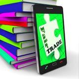 Demostraciones de Smartphone del comercio justo que compran las mercancías éticas de Fairtrade stock de ilustración