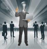 Demostraciones del hombre de negocios de la cabeza de la lámpara del vector algo con el finger stock de ilustración