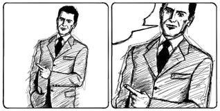 Demostraciones del hombre de negocios del bosquejo algo con el dedo Imagen de archivo