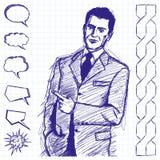Demostraciones del hombre de negocios del bosquejo algo con el finger Fotografía de archivo libre de regalías