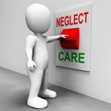 Demostraciones del interruptor del cuidado de la negligencia que descuidan o que cuidan Imagenes de archivo