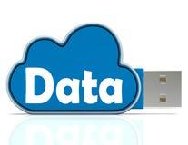 Demostraciones del Memory Stick de los datos que sostienen a la nube Foto de archivo