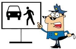 Demostraciones del policía cómo no cruzar Foto de archivo libre de regalías