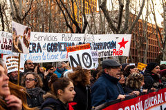 Demostraciones en Madrid (España) en 23-FEB-2013 Imagen de archivo
