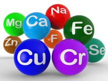 Demostraciones química y ciencia de los símbolos químicos ilustración del vector