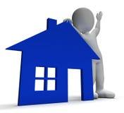 Demostraciones Real Estate del símbolo y del carácter 3d de la casa Fotos de archivo libres de regalías