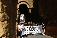 Demostraion в имени безопасности в Carmona Севилье Испании 89 стоковое фото