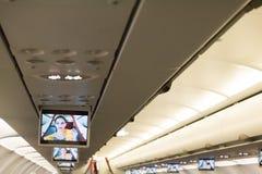 Demostration de la seguridad del aeroplano en la pantalla Imagen de archivo libre de regalías