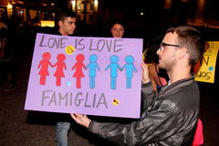 Demostration dos casamentos entre homossexuais Imagem de Stock Royalty Free