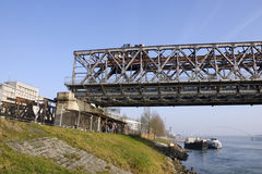 Demounting the Stary most bridge in Bratislava Stock Images
